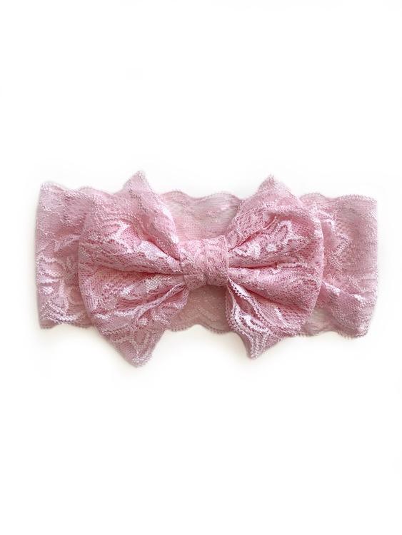Hårband - Mimmi Bow Lace Dusty Pink