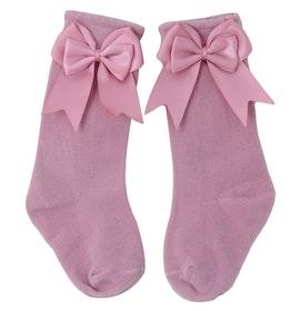 Knee Sock - Elsa Bow  Rosé