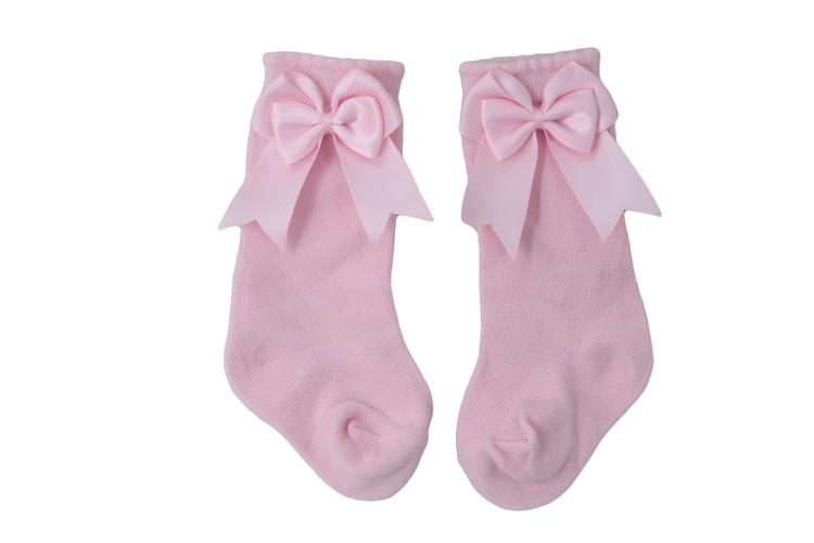 Knästrumpa - Elsa Bow  Baby Pink