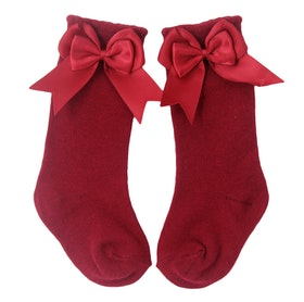 Knee Sock - Elsa Bow Red Rose