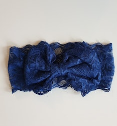 Hårband - Mimmi Bow Lace Midnight Blue