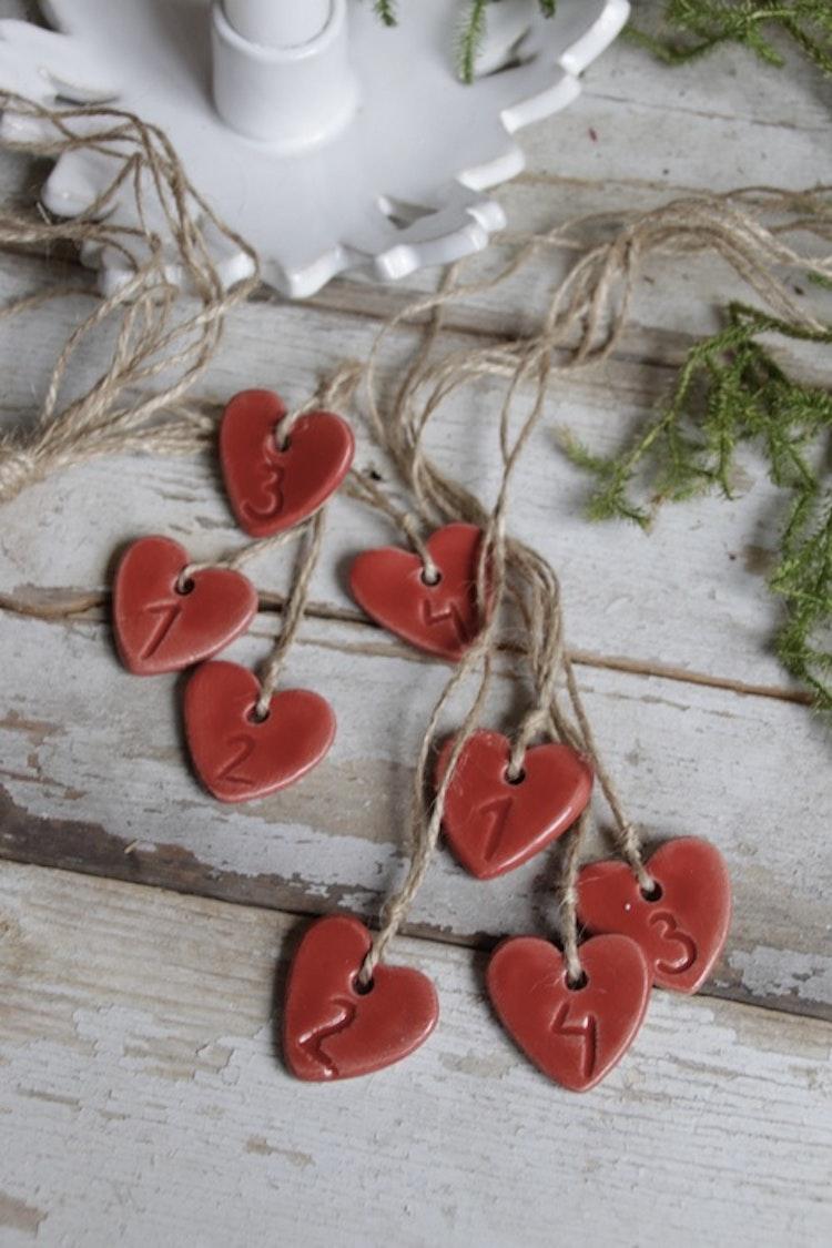 Adventssiffror - hjärtan