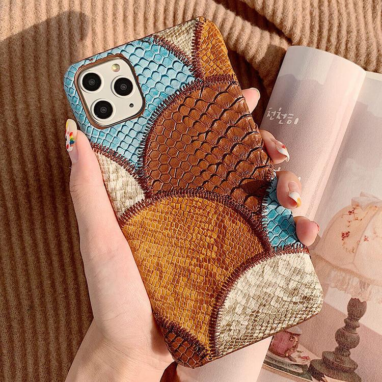 iPhone X blandade färger Snakeskin PU-läderfodral