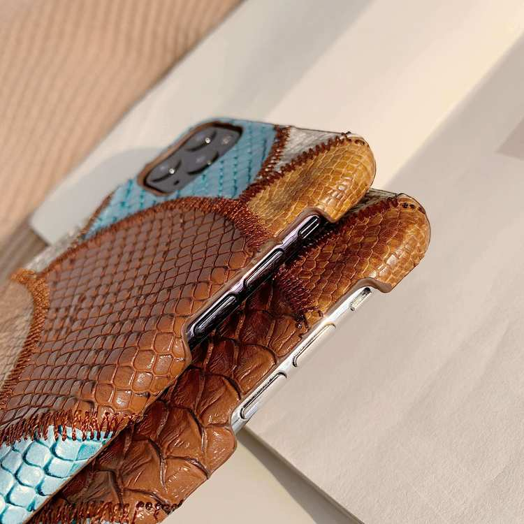 iPhone 11Pro Max blandade färger Snakeskin PU-läderfodral
