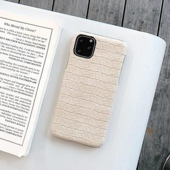iPhone X krokodilmönster äkta läderfodral Beige