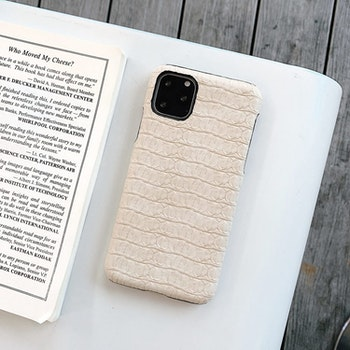 iPhone X Max krokodilmönster äkta läderfodral Beige