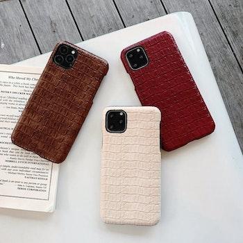 iPhone 11 krokodilmönster äkta läderfodral Beige