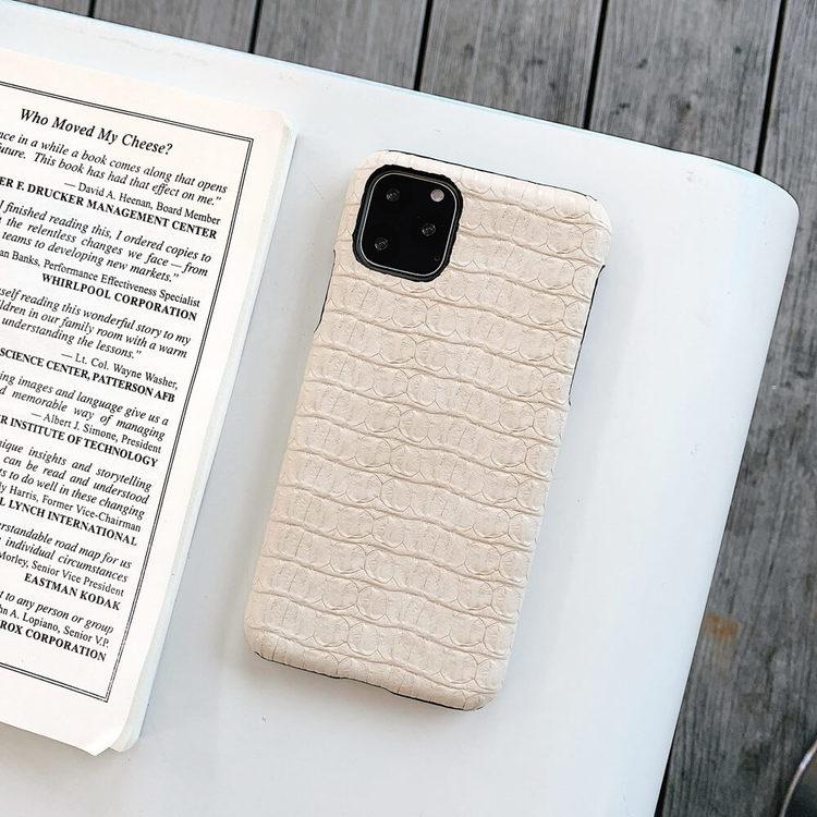iPhone 12 Pro Max  krokodilmönster äkta läderfodral Beige