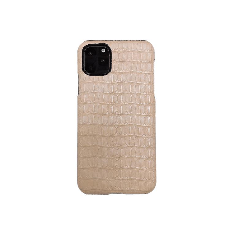 iPhone 12 krokodilmönster äkta läderfodral Beige