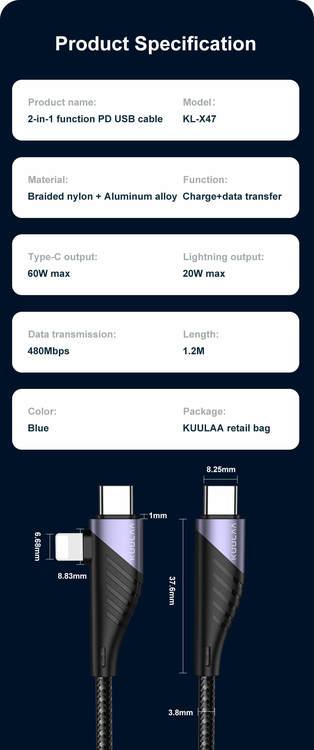 Nylonflätad 20V 3A PD 60W QC3.0 Snabb laddningstyp C till typ C till Lightning USB C datakabel