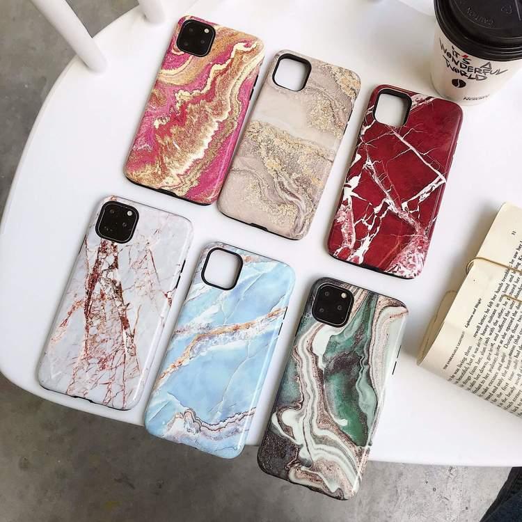 iPhone 11, 11PRO, 11PRO MAX grön marmor snyggt skal