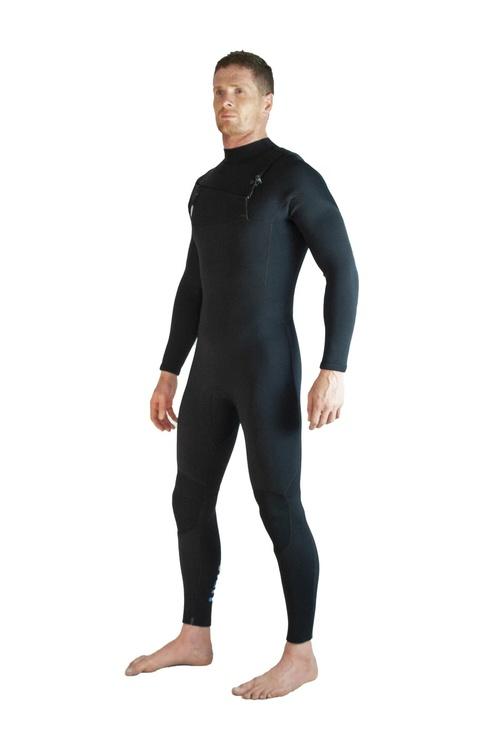 Lunasurf Mens 4.3mm Slant Zip Black Wetsuit