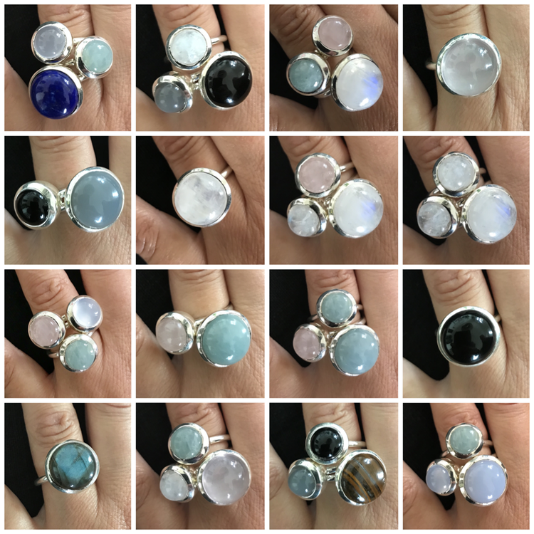 Silverringar med naturliga stenar, mixa och matcha. Silver rings with natural stones, mix and match.