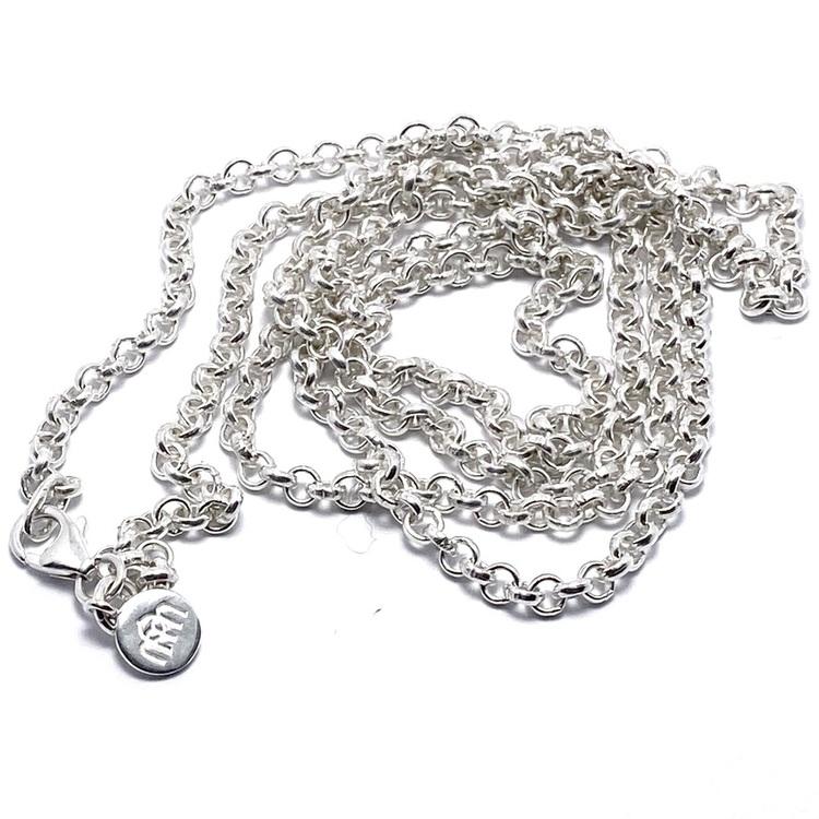 lång silverkedja 90cm. long silver chain 90cm