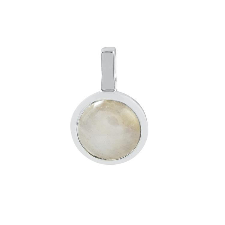 Hängsmycke i silver med regnbågs-månsten. Silver pendant with rainbow moonstone.