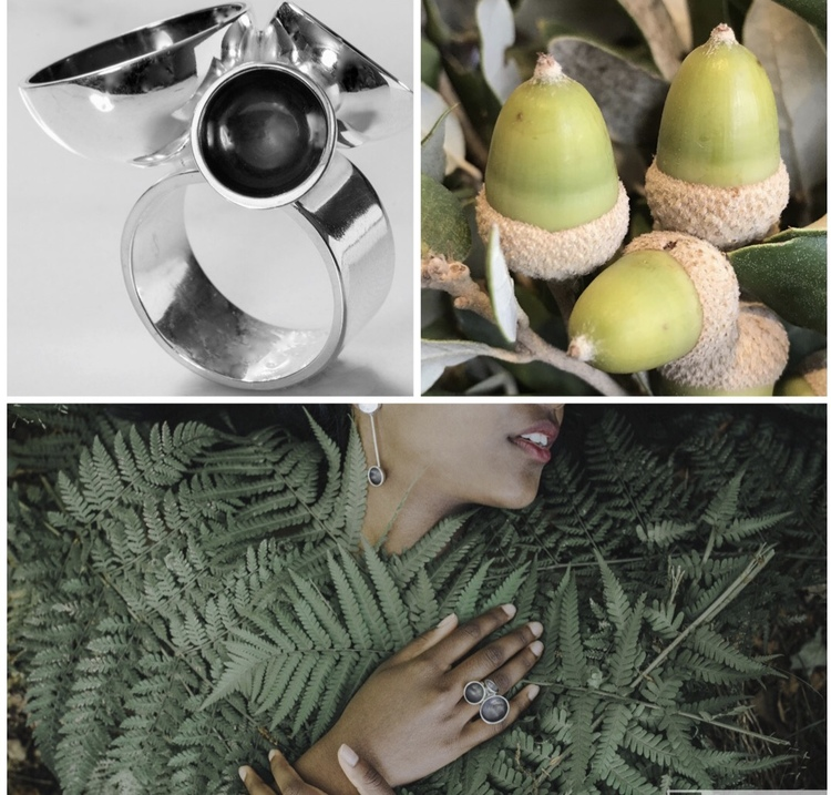 Stor oxiderad silverring med matchande stora örhängen . Big oxidised silver ring with big matching earrings