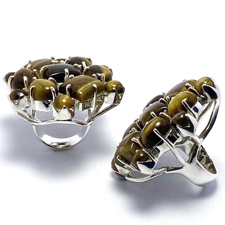 Stora silverringar med tigeröga. Big silver rings with Tiger's eye
