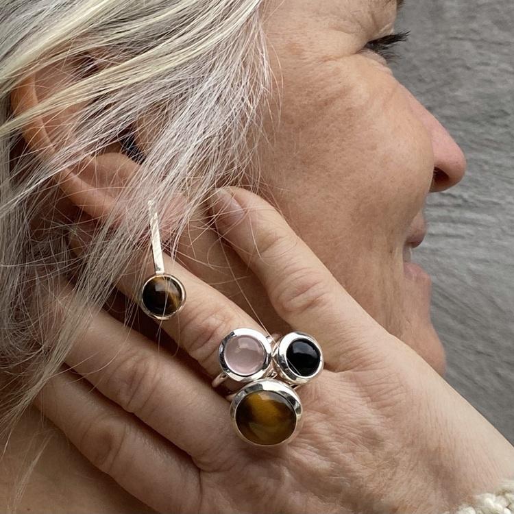 Silverringar med naturliga stenar, mixa och matcha. Silver rings with natural stones, mix and match.