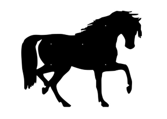 Figurskuren fasaddekor av Häst i svartlackerad 2mm stålplåt.