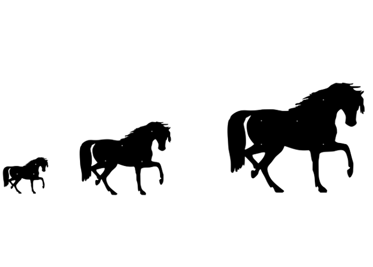 Figurskuren fasaddekoration av Häst i storlekarna liten, mellan, stor.