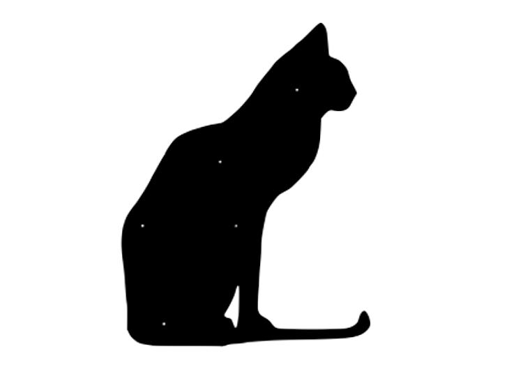 Figurskuren fasaddekor av sittande Katt i svartlackerad 2mm stålplåt.
