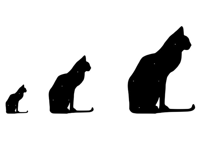 Figurskuren fasaddekoration av sittande Katt, i storlekarna liten, mellan, stor.