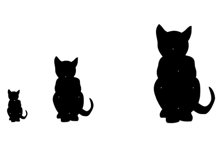 Fasaddekoration i form av siluetten av en sittande katt, 3 storlekar.