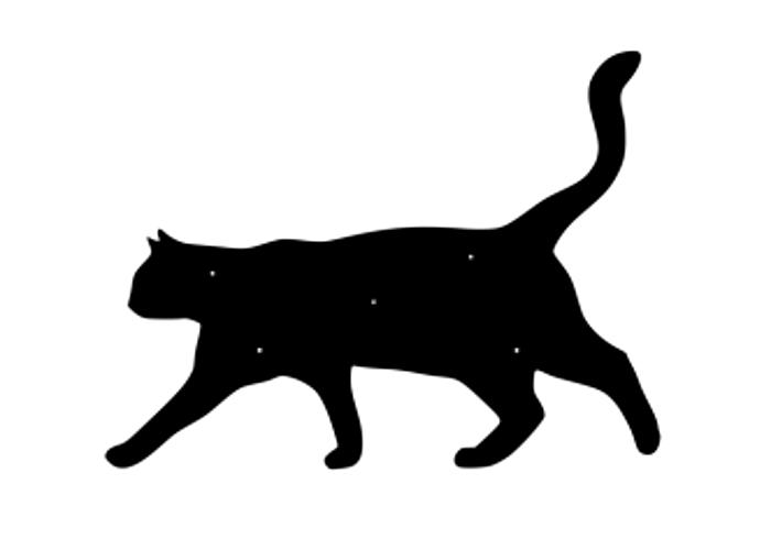 Fasaddekoration i form av siluetten av en stående katt.