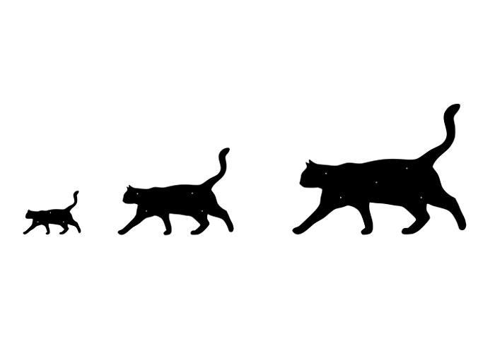 Fasaddekoration i form av siluetten av en stående katt, i tre storlekar.