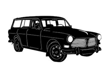 Figurskuren plåt i form av en Volvo Amazon Kombi.