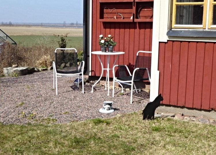 Sittande svart katt i plåt som är nedstucken i marken.