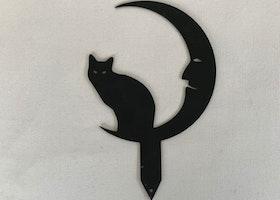 Trädgårdsdekoration Katt/Måne