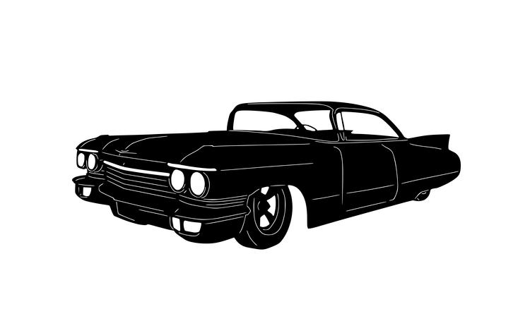 Figurskuren plåt i form av en Cadillac 1960