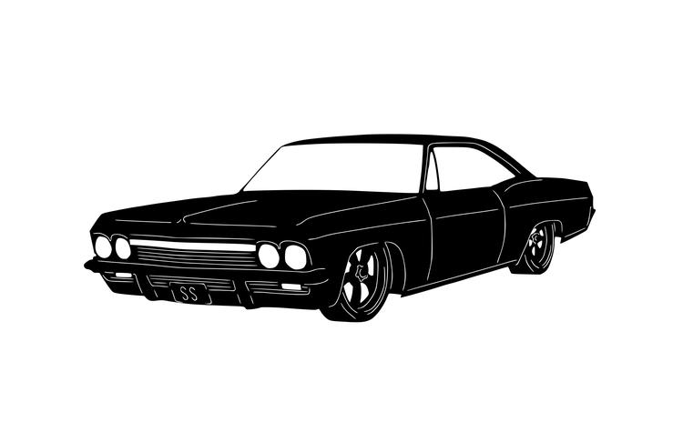 Figurskuren plåt i form av en Impala 1965