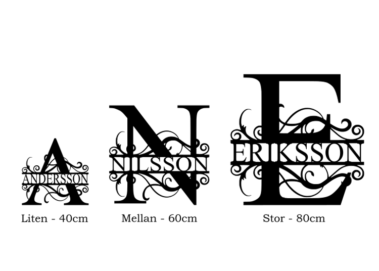 3st storlekar av split monogram i jämförelse.