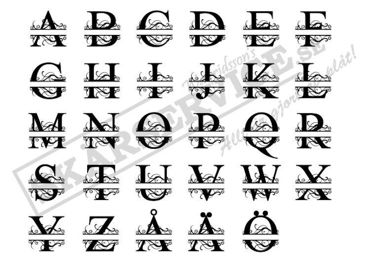 Monogram med alfabetets alla bokstäver utan namn.