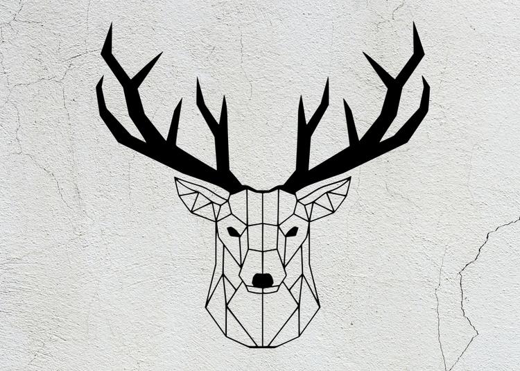 Geometrisk hjort, i stål.