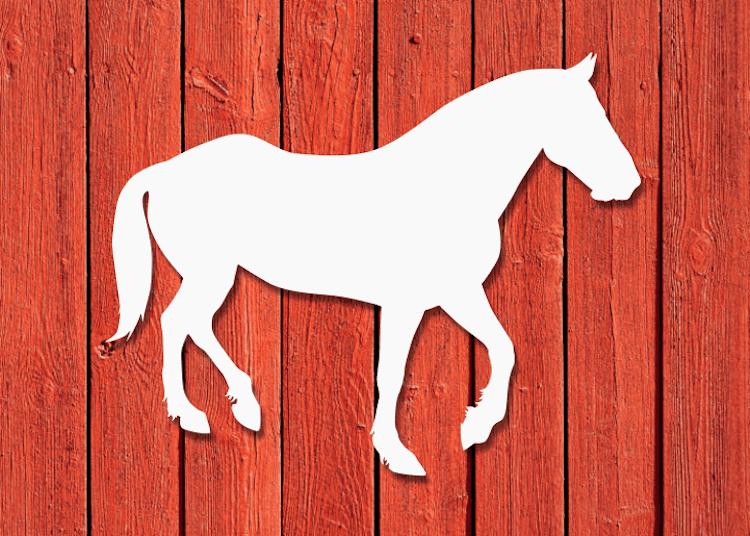 Vit fasadsiluett av en häst.