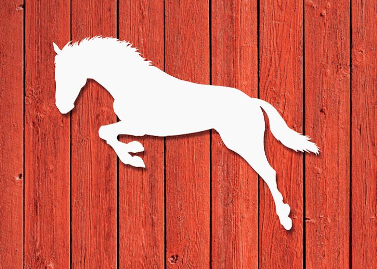 Vit siluett av hoppande häst.