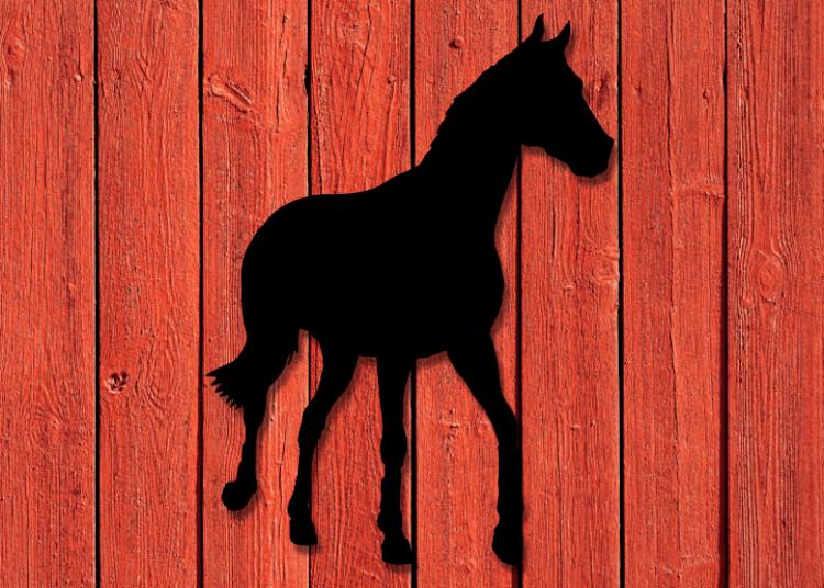Svart fasadhäst på röd träfasad.