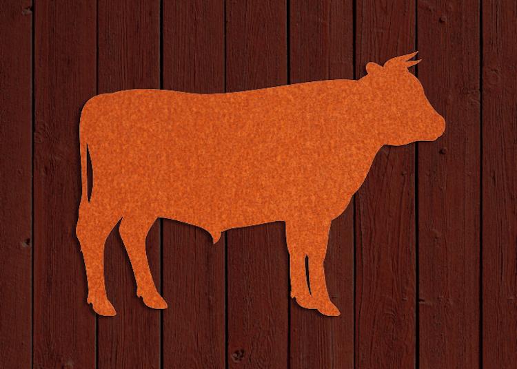 Rostfärgad siluett av tjur på trävägg.