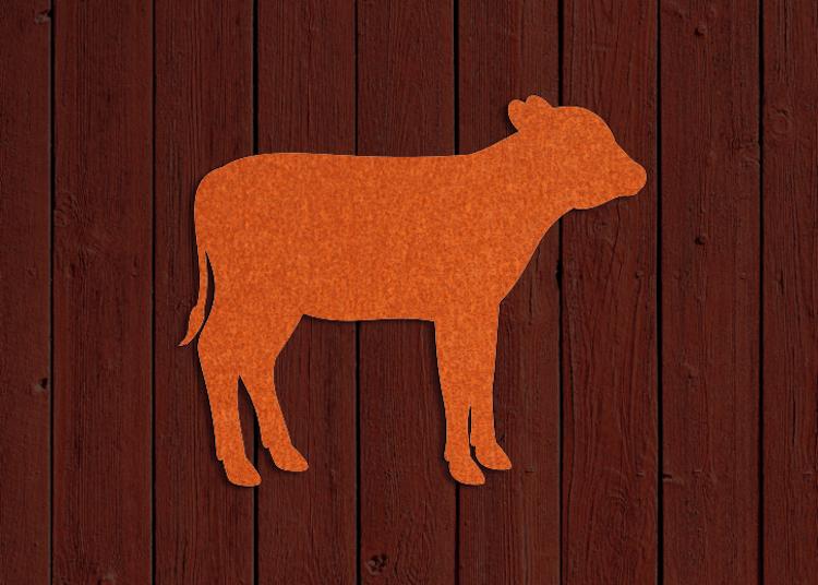 Rostfärgad siluett av en kalv.