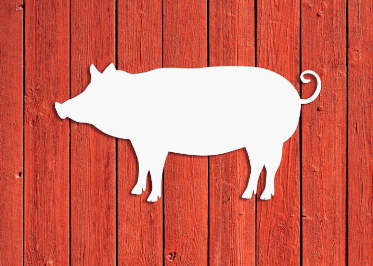 Vit grissiluett mot röd vägg.