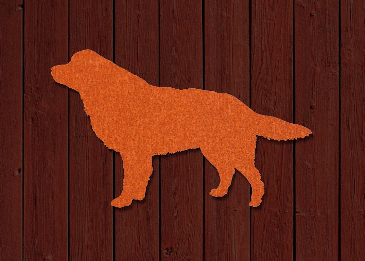 Hundsiluett i cortenstål, rasen Berner Sennen.