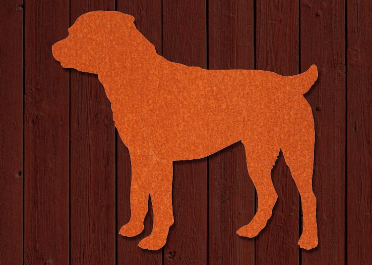 Rostigt utseende på denna siluett av en rottweiler i cortenstål för husväggen.