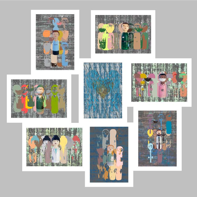Bild collage, Mina Hjältar, förr och nu