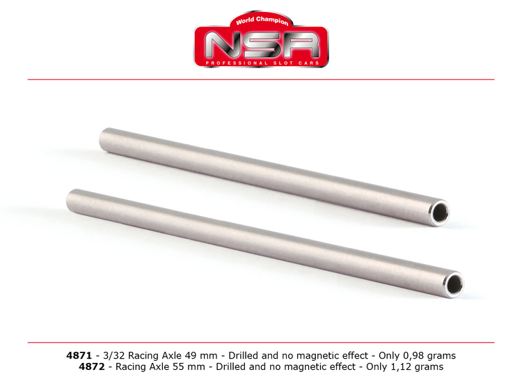 """NSR - Racing Axle - Drilled - 3/32"""" -  55 mm - Only 0.98 grams (1x)"""