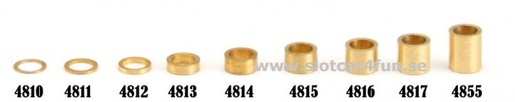 """NSR - 3/32"""" axle brass spacers -  .100"""" / 2,50 mm (10x)"""