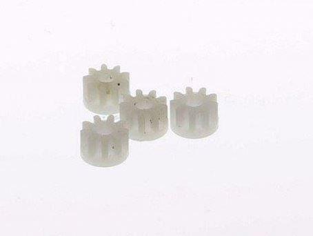 Scalextric W8100 - Inline motor pinions white nylon 9 tooth (4x)