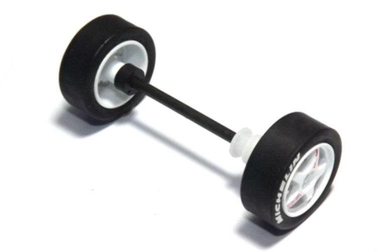 Scalextric W9022 - Front Wheel assembly Skoda / Komplett framaxel Skoda